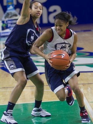 Moriah Jefferson drives around teammate Saniya Chong during UConn women's basketball practice at Alico Arena on Wednesday, November 26, 2014. The Huskies play College of Charleston in the first round of the Gulf Coast Showcase tonight.