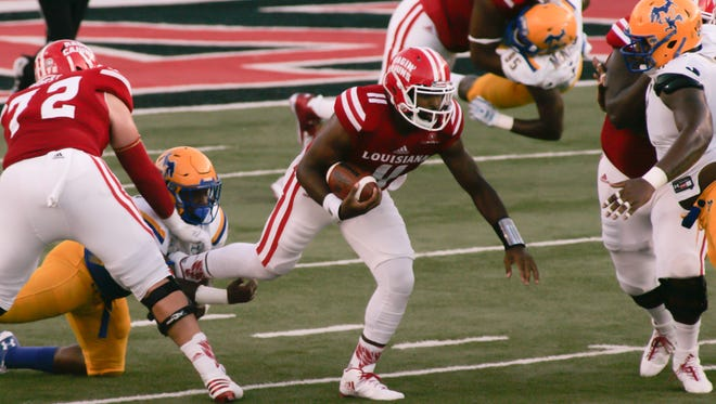 UL  quarterback Anthony Jennings scrambles during the Cajuns' win over McNeese State on Saturday.