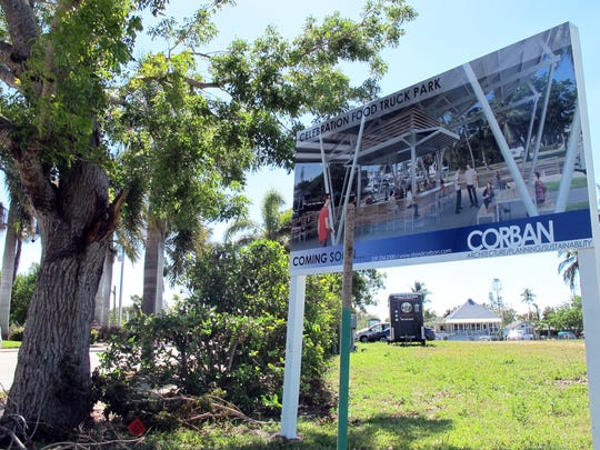 Celebration Park, a venue of food trucks off Bayshore Drive in East Naples, is targeted to launch this fall on this lot across from Three60 Market, background, on Haldeman Creek.
