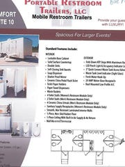 A brochure featuring a layout by Portable Restroom Trailers LLC was featured in documents obtained by the Reno Gazette-Journal.