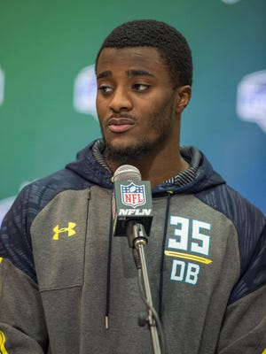 Mar 5, 2017; Indianapolis, IN, USA; Former Michigan defensive back Jourdan Lewis speaks to the media during the 2017 combine at Indiana Convention Center.
