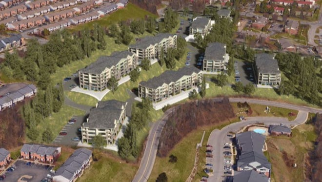An aerial view of the 250-unit apartment complex that's planned for 15201 Old Hickory Blvd.