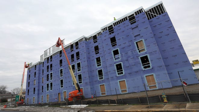 Construction continues on the Candlewood Suites being built on the corner of Welsh Tract Road on Rte. 896.