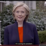 In this image taken from video posted to hillaryclinton.com on Sunday, April 12, 2015, Hillary Rodham Clinton announces her campaign for president. The former secretary of state, senator and first lady enters the race in a strong position to succeed her rival from the 2008 campaign, President Barack Obama.