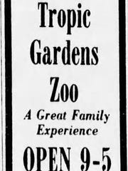 An advertisement for the Tropic Gardens Zoo appeared in the Arizona Republic on Sept. 1, 1979.