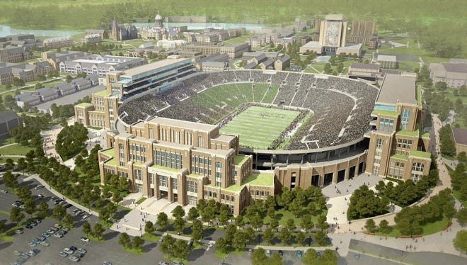In this artists rendering provided by The University of Notre Dame is the school's new football stadium.