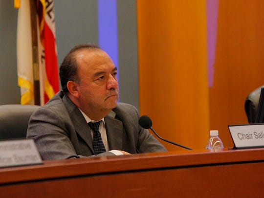 Monterey County Board of Supervisors Chair Simón Salinas listens to the community speak about amendments to the 2010 Monterey County General Plan during the Monterey County Board of Supervisors meeting Tuesday in the BOS Chambers.