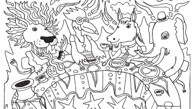 A page from local artist Paul Cheney's coloring book.