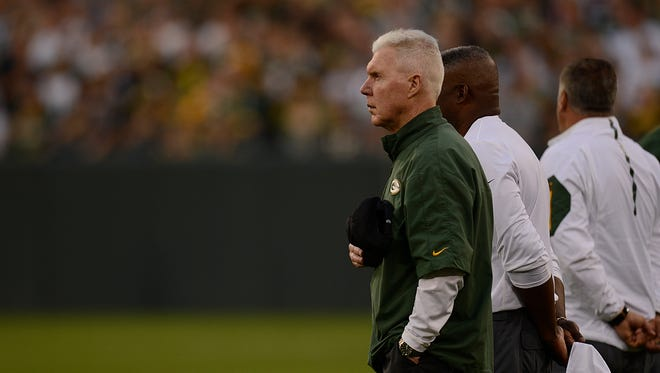 Green Bay Packers general manager Ted Thompson looks on during Packers Family Night at Lambeau Field on Saturday, Aug. 8, 2015.