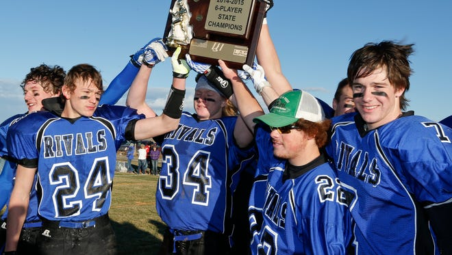 Geraldine-Highwood celebrates its Six-Man state football championship in 2014. The Highwood School Board recently voted to not renew the co-op between the two schools.