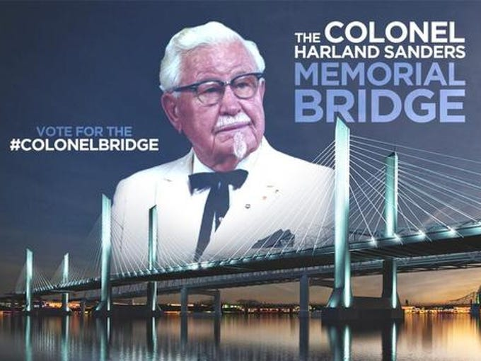 YUM Brands released this photo illustration on Twitter in February showing an image of KFC founder Col. Harland Sanders with a rendering of the downtown span of the Ohio River Bridges Project.