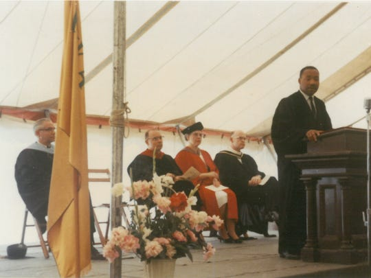 Martin Luther King Jr. delivers the baccalaureate address
