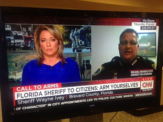 Brevard County Sheriff Wayne Ivey appears on CNN on Thursday, Dec. 10, 2015.