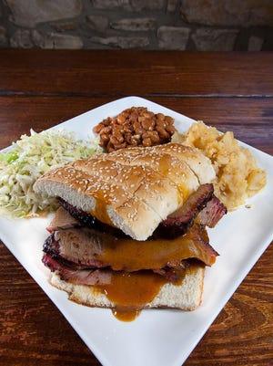 A meal from the Salt Lick Bar-B-Que at Austin-Bergstrom International Airport.