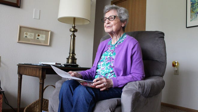 Phyllis Peters sits in her room at Primrose Retirement Community on Thursday.
