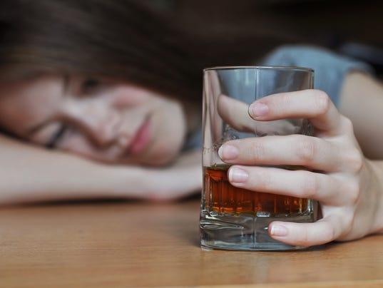 Drunk female addict