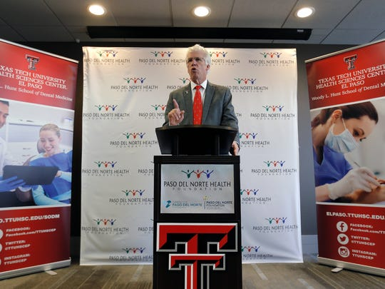 Texas Tech University Health Sciences Center President Dr. Richard Lange announces a $6 million grant from the Paso del Norte Health Foundation Tuesday. The grant will help kick start the Woody L. Hunt School of Dental Medicine in finding a dean of students and developing a curriculum. The dental school hopes to graduate its first class of twenty students in 2020. At full capacity the school will graduate as many as 75 dentists and 60 dental hygenists annually.