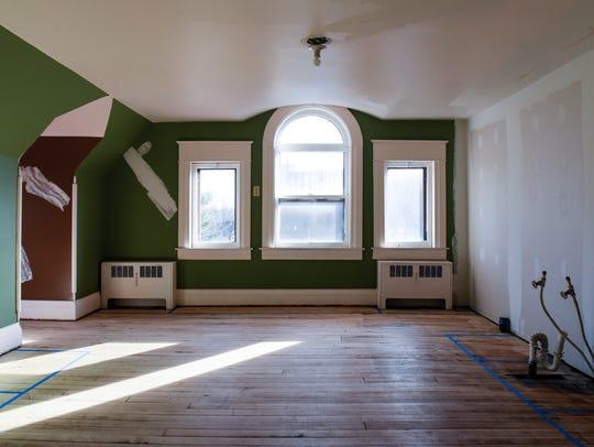 The future living room on the ballroom level inside