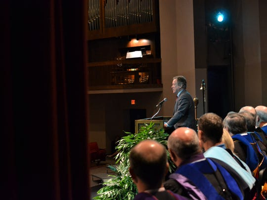 Gov. David Beasley, who served as South Carolina's governor from 1995 to 1999, delivered a speech Wednesday at Anderson University's Founders Day Convocation.