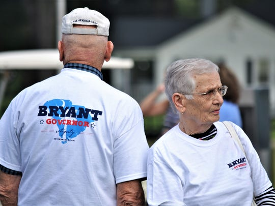 Anderson residents Bob Martin and Pat Martin donned t-shirts supporting Lt. Gov. Kevin Bryant's run for S.C. governor at his announcement on Friday.