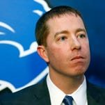 Detroit Lions general manager Bob Quinn listens to a reporter's question after being introduced at a news conference Jan. 11, 2016, in Allen Park.