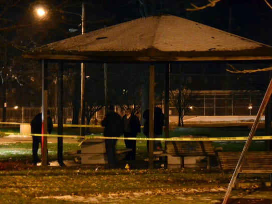 Photo shows Cleveland police investigating a scene