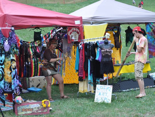 Food and craft vendors sell their wares at the WindRider