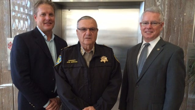 Maricopa County Board of Supervisors Chairman Clint Hickman, Sheriff Joe Arpaio and County Attorney Bill Montgomery