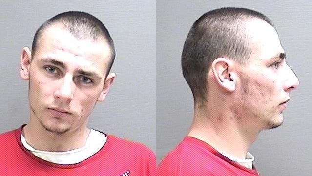 """BRASDA, JUSTIN RAY: 22 years, white male, 6'2"""", 165 pounds, brown hair, blue eyes, wanted on:  Failure to Register as a Violent Offender, felony, bond $25,000."""