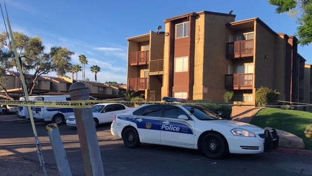 Two men with fatal gunshot wounds were found in the parking lot of this apartment complex near 17th and Glendale avenues early March 12, 2018.