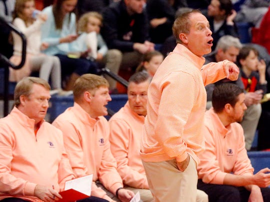Blackman's boys basketball coach Barry Wortman on the sidelines during the game against Siegel on Friday, Dec. 8, 2017, at Blackman.