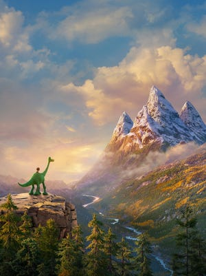 """Two friends have an adventure over a dangerous yet beautiful landscape in """"The Good Dinosaur."""""""