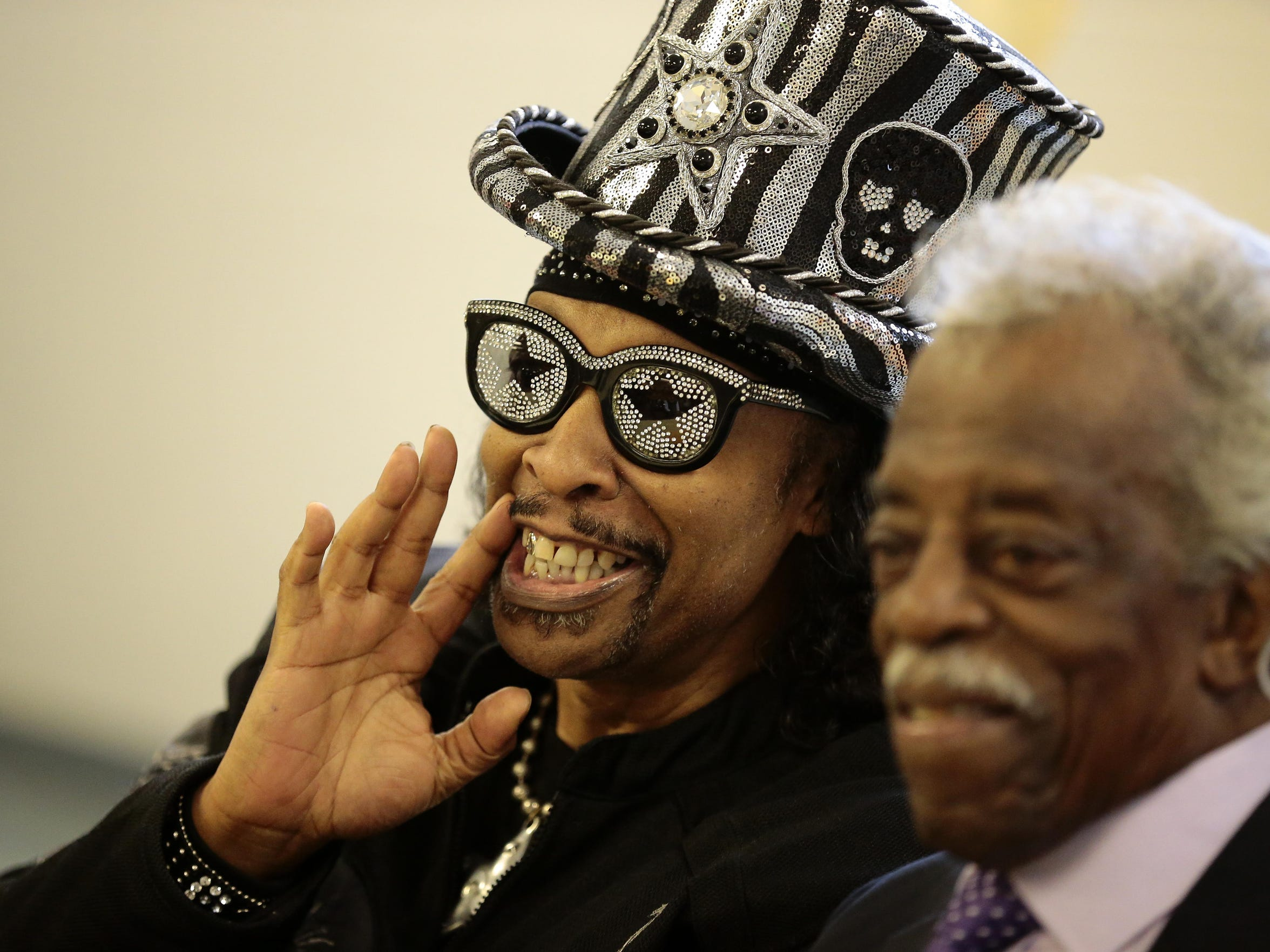 Bootsy Collins and Philip Paul greet well-wishers at the city street re-naming in early 2017.