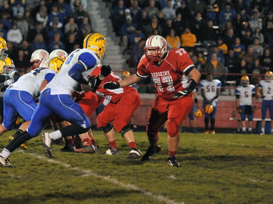 Offensive lineman Trenton Williams, right, is among Port Clinton's returning players this season.