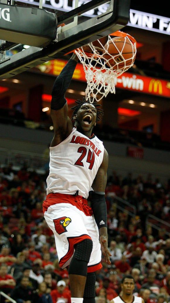 Louisville White team member Montrezl Harrell slams