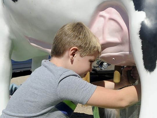Silver Stage Elementary School third-grader Preston Kendall practices milking a fake cow.
