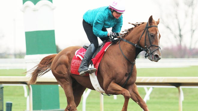 Flameaway works out at Keeneland on April 4.