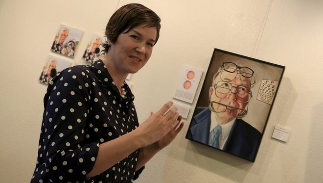 Kirsten Beitler talks about a painting of her neighbor Roger Steed, who has diabetic retinopathy. It's part of her one-woman show on eye diseases at the DiFiore Center in St. George.