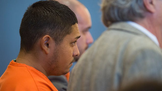 Juan Canales-Hernandez appears in court Friday, September 16, 2016. The 24-year-old was arrested September 8 after the convicted child abuser allegedly caused injuries that lead the death of a baby.