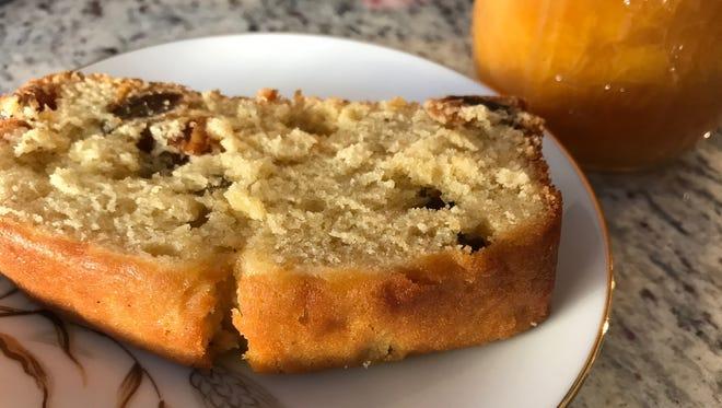 A jam cake made with homemade peach jam, using the Blackberry Jam Cake recipe.