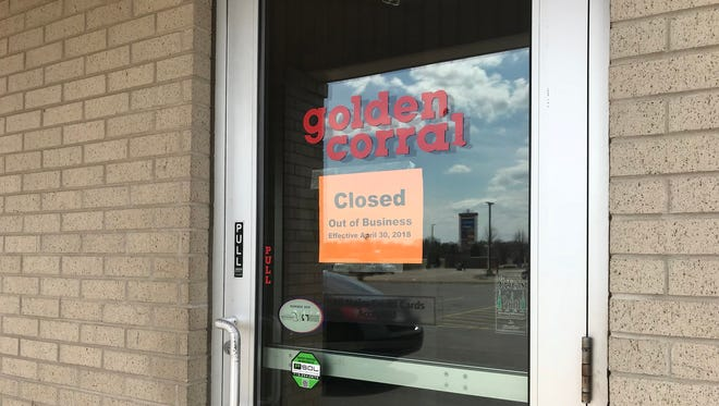 A sign on the door of Golden Corral in Plover states the restaurant closed Monday, April 30, 2018.