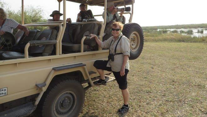 Lynne Penrice getting ready for a game ride in South Africa.