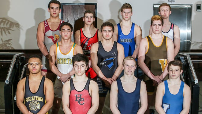 Courier News All-Area wrestlers. Front row, left to right, Lewis Fernandes of Voorhees; Joe Casey of Bound Brook; Sam Wustefeld of Scotch Plains-Fanwood; Quinn Haddad of Governor Livingston; middle row, left to right, Andrew Grapas of North Hunterdon; Jeff Johnson of Middlesex/Dunellen; Justin Hayward of Watchung Hills; back row, left to right, Michael Petite of Piscataway; Jack Bauer of Hunterdon Central; Brandon Spellman of Pingry; CJ Composto of Westfield. Photographed in Somerville on March 14, 2018. 