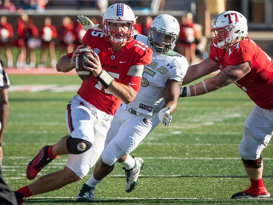 Ball State quarterback Riley Neal runs against UAB in the home opener on Sept. 9 at Scheumann Stadium.