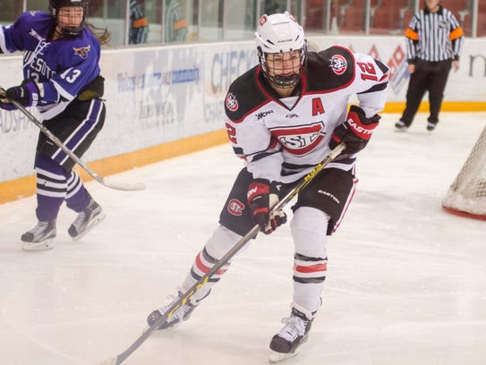 St. Cloud State's Molly Illikainen skates with the