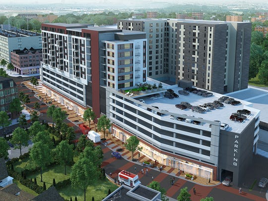 A rendering of the two 12-story apartment buildings