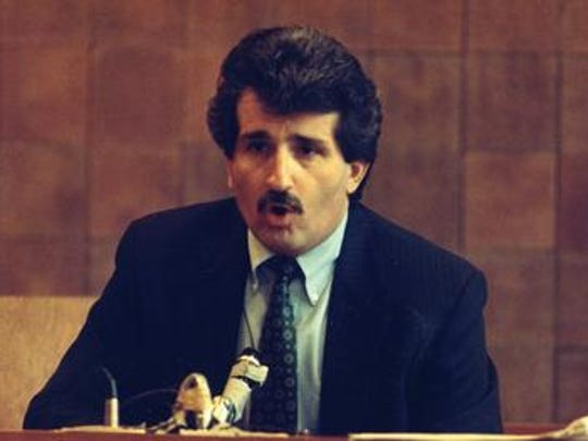 Paul Solomon reacts during his sixth and final day of testimony at the trial of Carolyn Warmus in 1991.
