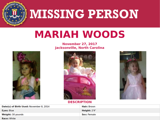 The FBI issued this poster Tuesday as the search for Mariah Woods continued.