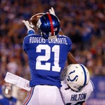 Giants cornerback Dominique Rodgers-Cromartie (21) is still ailing, but is expected to play Sunday.