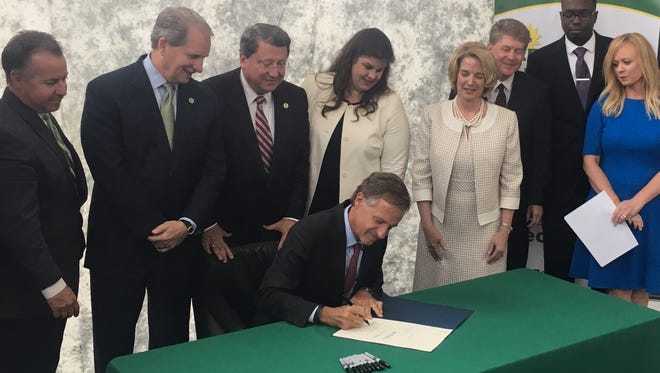 Gov. Bill Haslam signed the Tennessee Reconnect Act into law at Motlow State Community College's Smyrna campus Wednesday, May 24, 2017. After Tennessee Promise, the school's attendance increased at a rate of 40 percent per year, making it the fastest-growing college in the state for two years running.